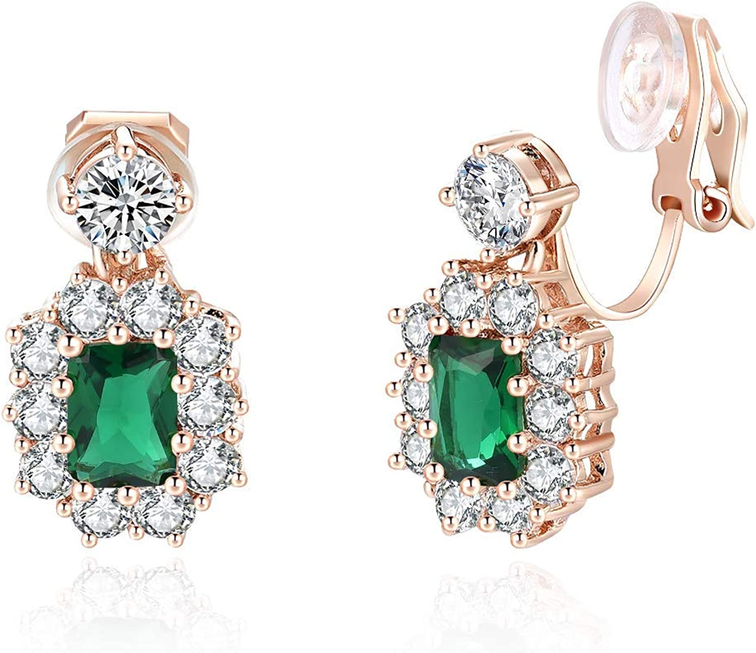 FANCIME Ladies Clip On Earrings para Mujer Cubic Zirconia Granate/Green Emerald Clip On Earrings CZ Pendientes no perforados para mujer