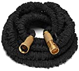 Keflar 50-Feet Expanding Garden Hose Solid Brass Connector Fittings and Sprayer - Black