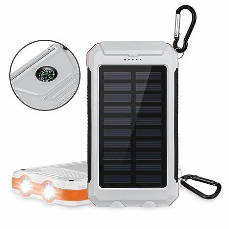 Aedon A5 10000mAh Cargador Solar Portátil, Externa Batería de Móvil con LED muy dispositivos Digitales y portátil brújula para los viajes de ...