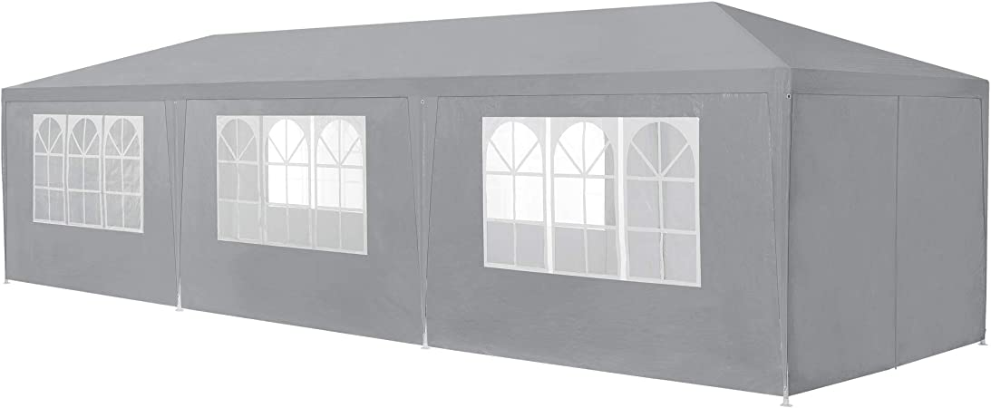 casa.pro Marco de jardín Pabellón Patio mirador con metal para Gris oscuro 9 x 3m: Amazon.es: Hogar