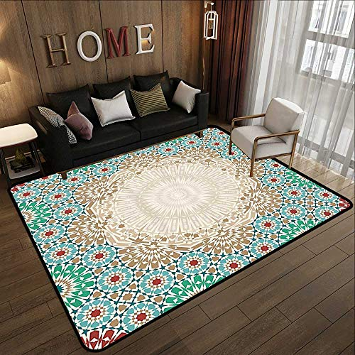 (Contemporary Indoor Area Rugs,Moroccan,Ottoman Mosaic Art Pattern with Oriental Floral Forms Antique Scroll Ceramic Boho Print,Multi 59