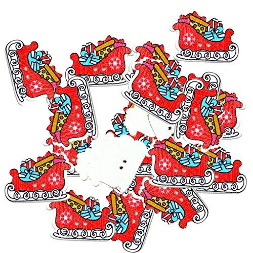 Perfk 約50個 手縫い ギフト木製 縫製ボタン DIY装飾品 手作り用品 子供服 おもちゃ 人形 アルバム 全4種選べ - プレゼント 23x30x2mm
