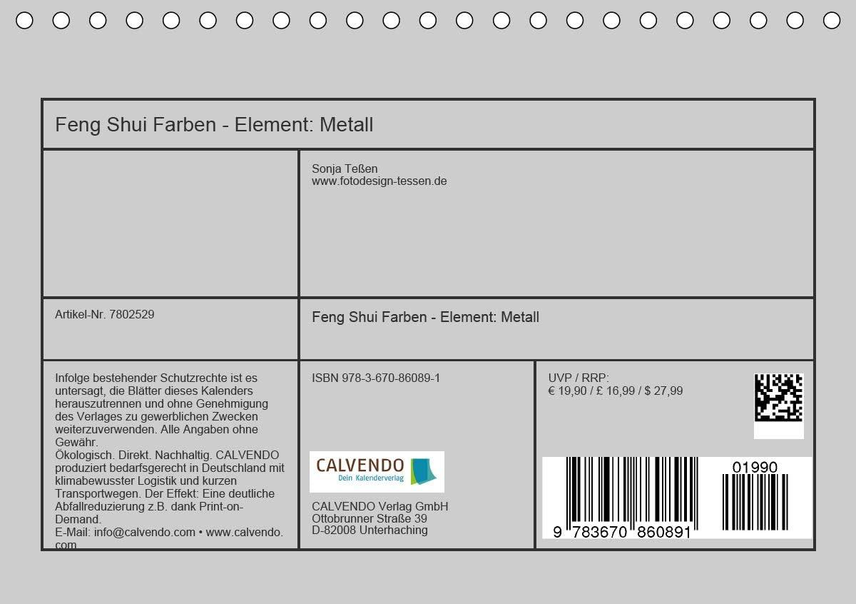 Feng Shui Farben - Element Metall Tischkalender 2020 DIN A5 ...
