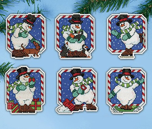 Candy Cane Snowman Ornaments Plastic Canvas Kit