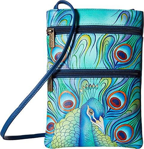 Anuschka Women's Genuine Leather Hand Painted Double Zip Travel Crossbody Bag | Jeweled Plume ()