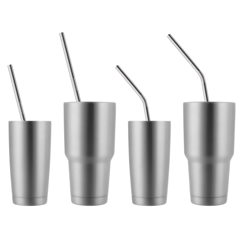 Jus 2 Brosses De Nettoyage Inclues Lot De 8 Acier Inoxydable Pailles pour Smoothies Epais Boissons Froides Pailles R/éutilisable Milkshakes