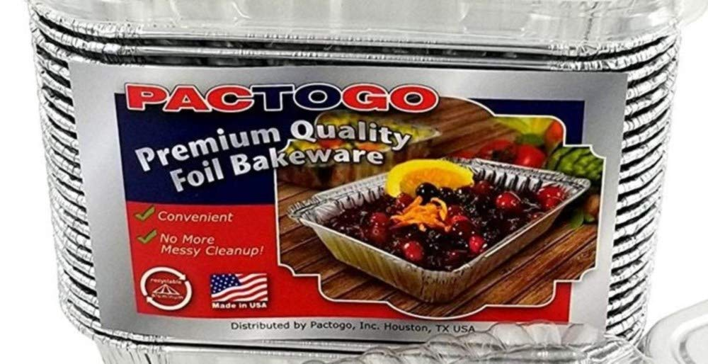 Pactogo Disposable 1 lb. Aluminum Foil Mini Loaf Pans with Clear Low Dome Lids (Pack of 400 Sets) by PACTOGO (Image #3)