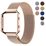For Fitbit Blaze Accessory Band,Small (5.5-6.7 in),Oitom Frame Housing+Milanese loop Stailess Steel Band for Fitbit Blaze Smart Fitness Women Rose Gold