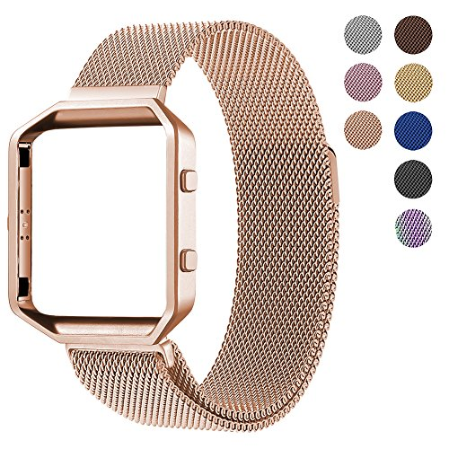 For Fitbit Blaze Accessory Band,Small (5.5-6.7 in),Oitom Frame Housing+Milanese loop Stailess Steel Band for Fitbit Blaze Smart Watch Fitness Tracker Women Rose Gold by Oitom