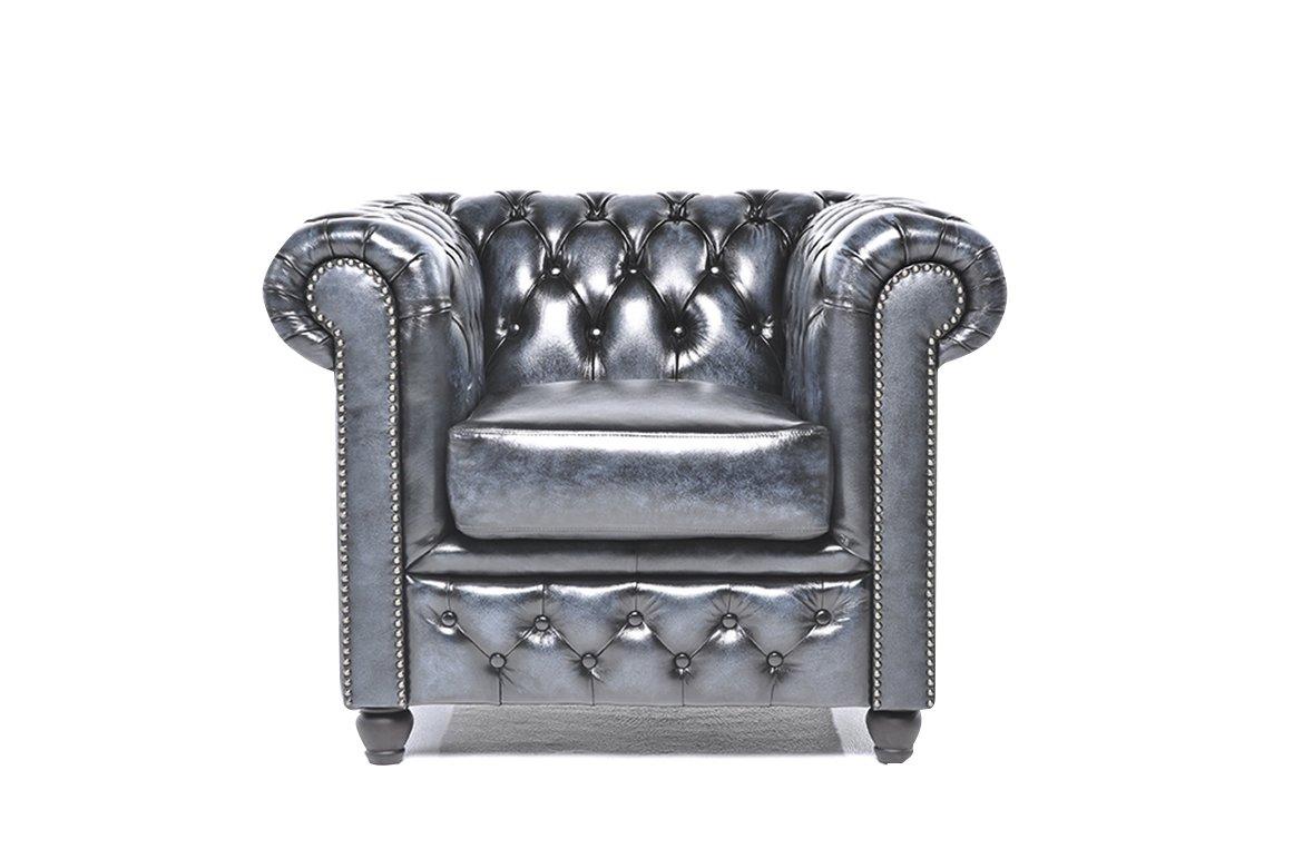 Magnificent The Original Chesterfield Full Real Hand Washed Leather 1 Seat Antique Blue 100 X 92 X 79 Cm Inzonedesignstudio Interior Chair Design Inzonedesignstudiocom