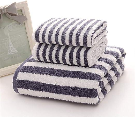 YIH - Juego de Toallas de baño (3 Piezas, algodón, 100% algodón Peinado, 2 Toallas de Mano y 1 Toalla de baño), diseño de Rayas, Color Azul: Amazon.es: Hogar