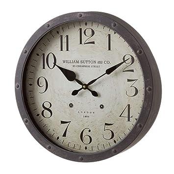 Reloj de Pared de Metal Gris Industrial para salón Factory - LOLAhome: Amazon.es: Hogar