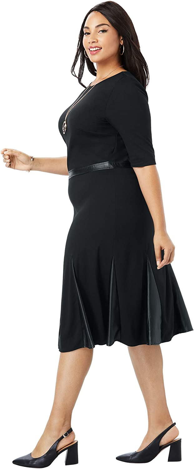 1920s Plus Size Flapper Dresses, Gatsby Dresses, Flapper Costumes Jessica London Womens Plus Size Ponte Fit & Flare Dress with Faux Leather Insets $53.96 AT vintagedancer.com