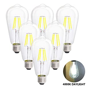 LED Edison Vintage Light Bulbs, 4W 4000K Daylight White, Dimmable LED Edison Bulb Antique LED Filament Bulbs, Clear Glass, 40W Equivalent, 380LM, ST64, E26 Base (4W-4000K-6Pack)
