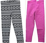 Kirkland Signature Girls' 2-Pack Legging (10/12, Nordic/Purple)
