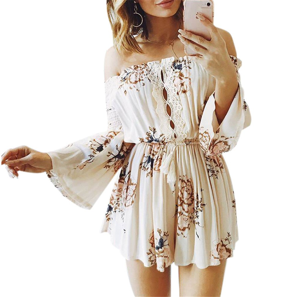 FeiSuit Girl Off Shoulder Boho Floral Playsuits Women Lace Short Rompers Party Jumpsuits