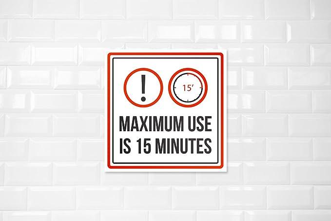 El máximo uso es de 15 minutos. Señal cuadrada de ...