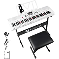 Vangoa VGK6101 Electronic Keyboard Piano, 61 Lighted Full-size Keys Electric Piano Keyboard with Stand, X-type Bench, 3…