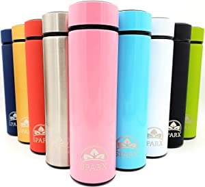 Dual Wall Stainless Steel Hot Tea/Coffee & Cold Beverages Thermos Water Bottle Tumbler (Light Pink)