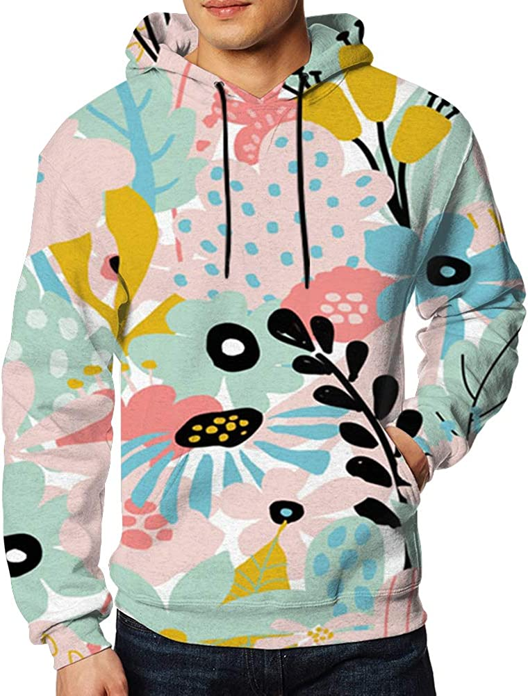Abstract Repeating Floral Elements Collage Mens 3D Printed Pullover Long Sleeve Hooded Sweatshirts with Pockets