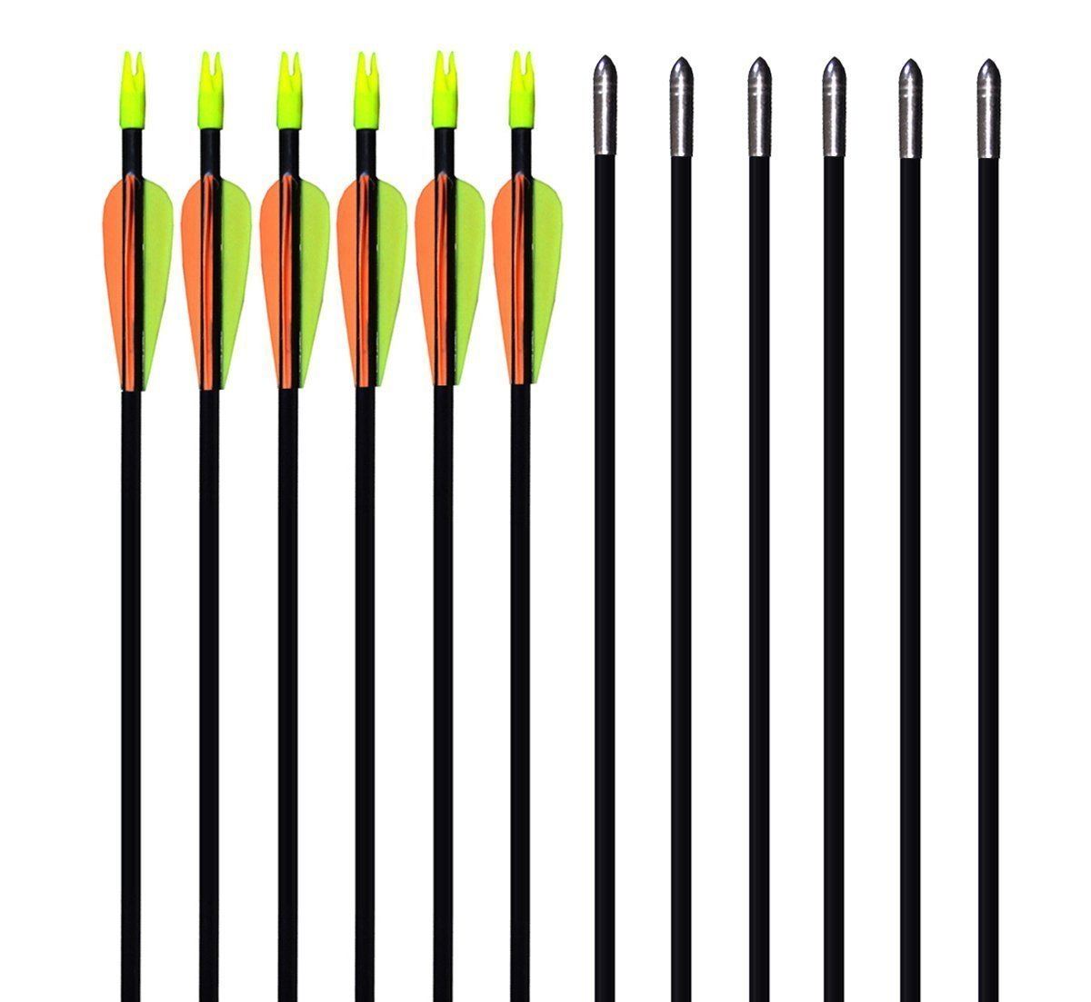 GPP 28'' Fiberglass Archery Target Arrows - Practice Arrows or Youth Arrows for Recurve Bow- 12 Pack by GPP