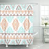 Emvency Shower Curtain Polyester Print 66x72 Inches Blue Navajo Southwest Inspired White Geometric Aztec Peach Color Nursery Mint Bathroom