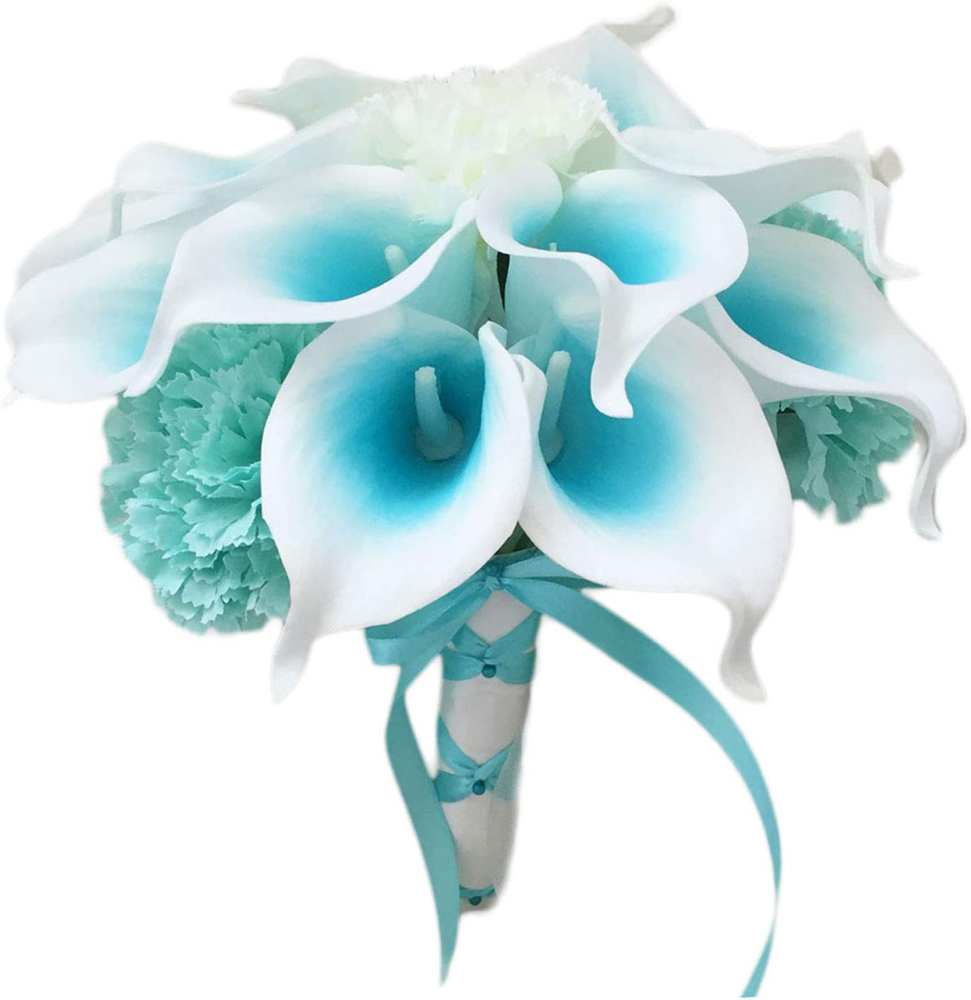"""Lily Garden Mini 15"""" Artificial Calla Lily 16 Stem Flower Bouquets with Ribbon (Turquoise with Carnation)"""