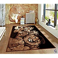 "CHAMPION RUGS LION TIGER WOMAN AFRICAN SAFARI THEME TRIBAL NOVELTY AREA RUG (5' 3"" X 7' 5"")"