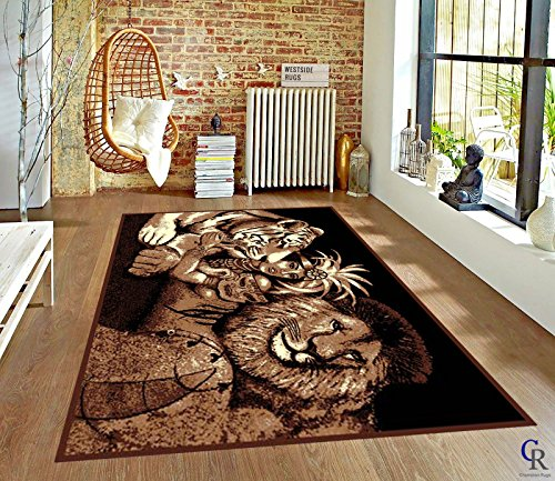 "LION TIGER JUNGLE QUEEN AFRICAN SAFARI AREA RUG (5' 3"" X 7' 5"")"