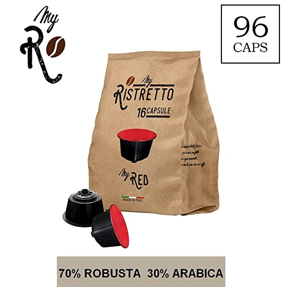 96 Cápsulas de Café compatibles Nescafé Dolce Gusto - Mezcla MyRed - MyRistretto - FRHOME