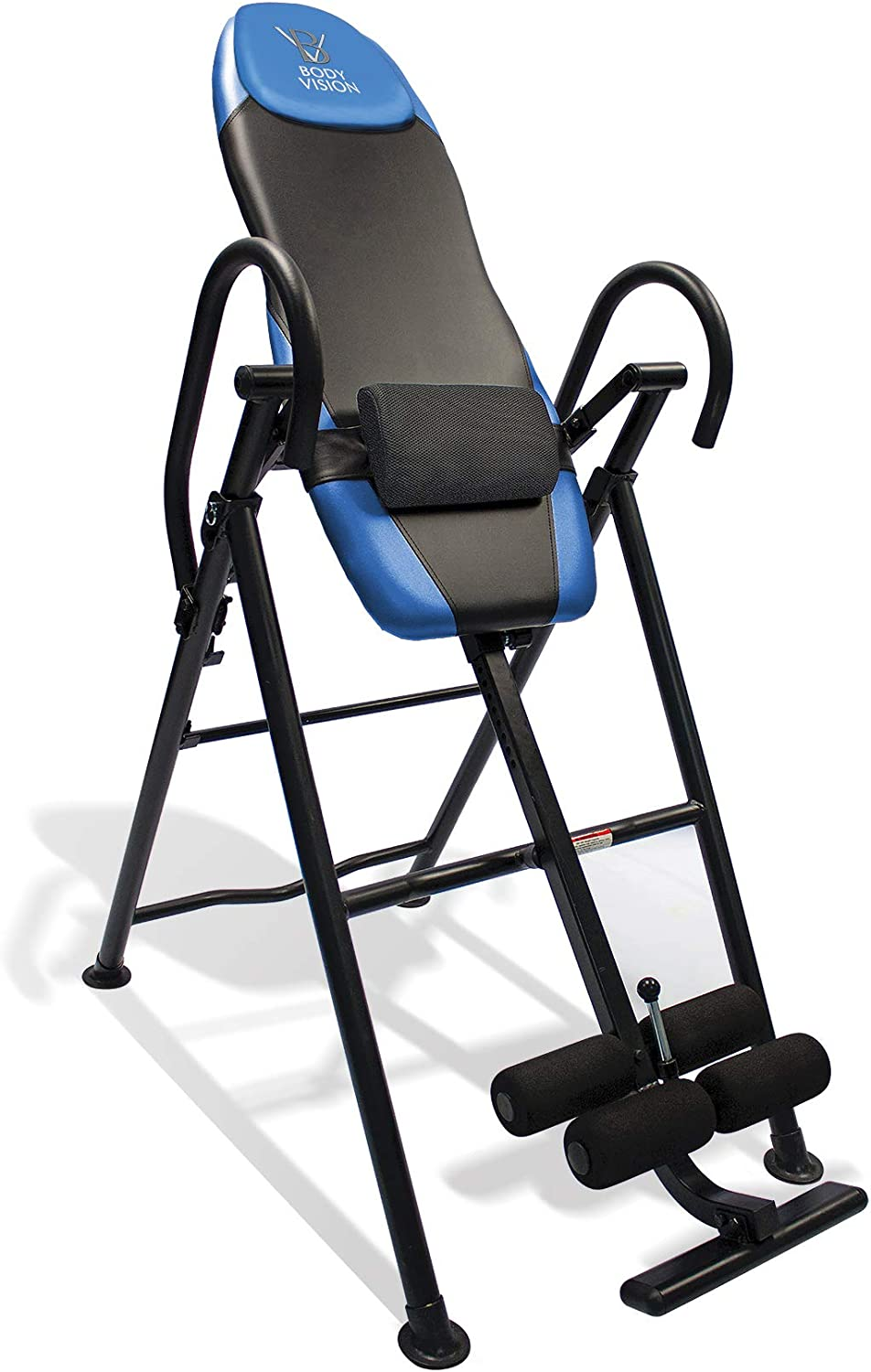 Body Vision IT9550 Deluxe Inversion Table with Adjustable Head Pillow Lumbar Support Pad, Blue – Heavy Duty up to 250 lbs