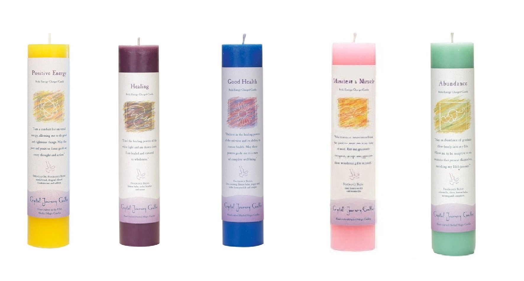 Crystal Journey Reiki Charged Herbal Magic Pillar Candle with Inspirational Labels - Set of 5 (Positive Energy, Healing, Good Health, Manifest a Miracle, Abundance) Each 7''x1.5'' handcrafted
