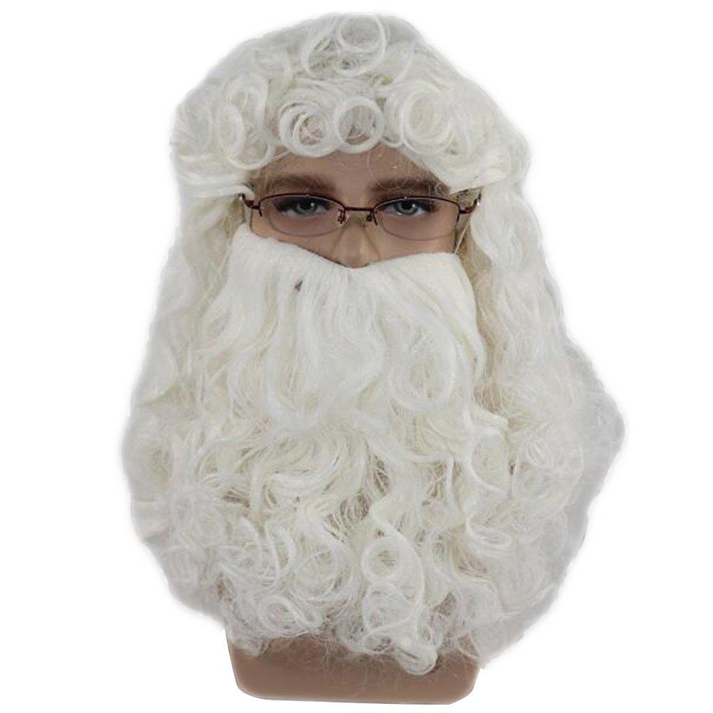 GROOMY Weihnachtsmann wellig weißen Bart Set Phantasie Hochtemperaturfaser Cosplay Perücke