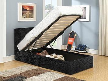 Sensational Birlea Berlin Ottoman Bed Crushed Velvet Black Single Forskolin Free Trial Chair Design Images Forskolin Free Trialorg