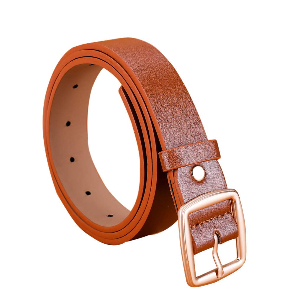 FEDULK Womens Leather Belts Waistband Pin Buckle Solid Colour Classic Retro Waist Belt