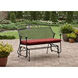 Red Outdoor Glider with Sturdy Steel Frame Made of Powder Coated Wrought Iron Cushion Included Holds up to 2 People and 450 lbs Durable Carefree Finish Furniture Home Patio Garden Metal Bench