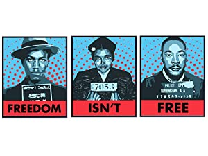 Freedom Isnt Free, African American Wall Art Print, Home Decor - Civil Rights, Black Lives Matter Room Decorations Poster Set - Gift for Martin Luther King, MLK, Rosa Parks, Malcolm X Fans - Pop Art