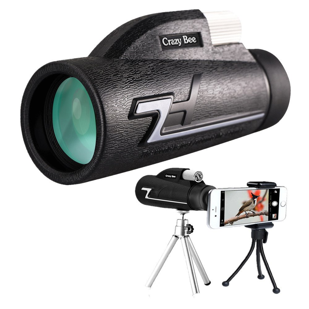 Monocular Telescope,16x50 High Power Prism Scope With Quick Smartphone Mount Adapter and Tripod - BAK4 Prism FMC for Bird Watching Hunting - telescopes for adults by Crazy Bee