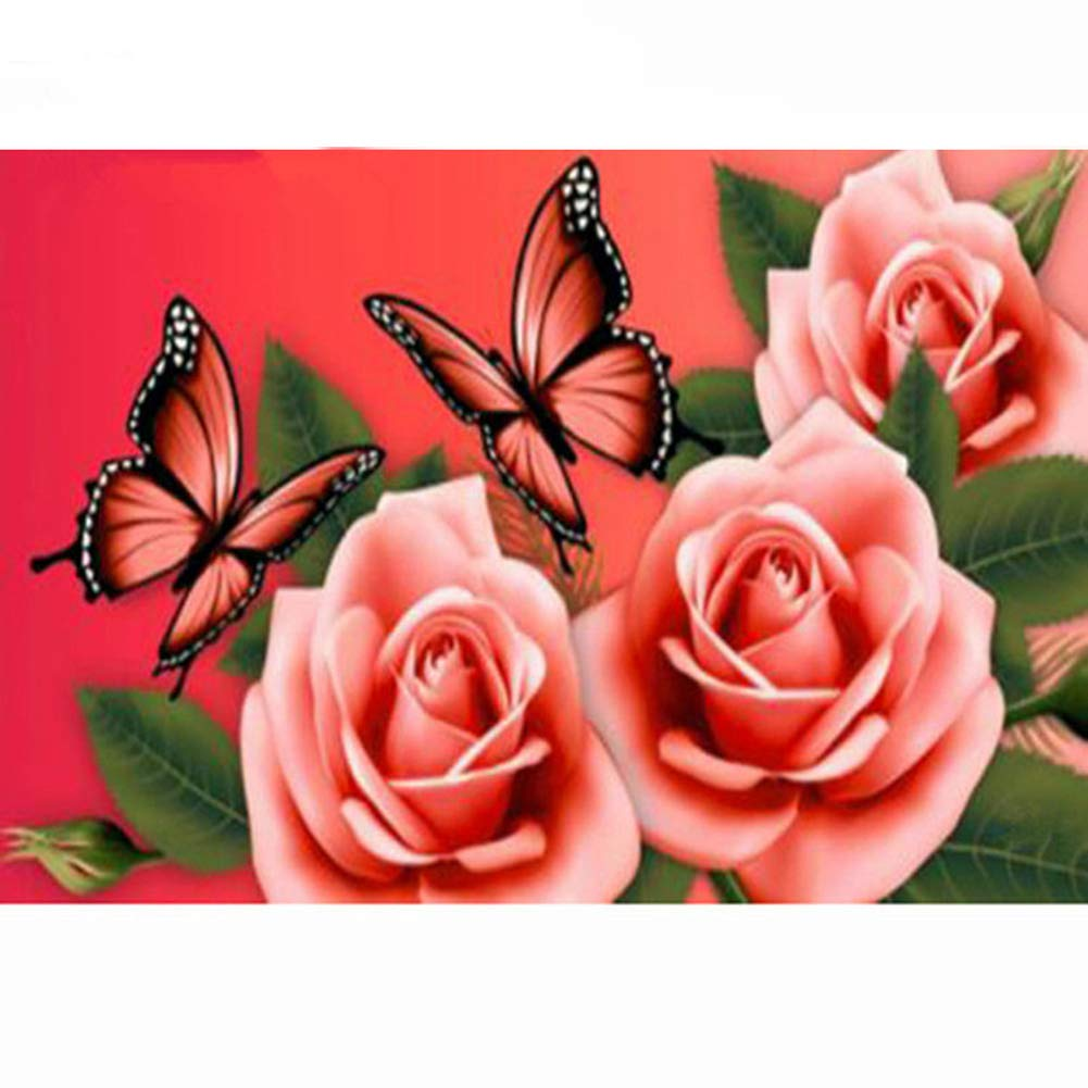 Diamond Embroidery 5D DIY Diamond Painting Pink Rose Butterfly Cross Stitch Adults' Paint by Number Kits Rhinestone Mosaic Drawing (70105CM)