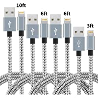 4-Pack IDiSON Apple MFi Certified Braided Nylon Lightning Charge & Sync Cable (3ft 6ft 6ft 10ft) (Gray White)