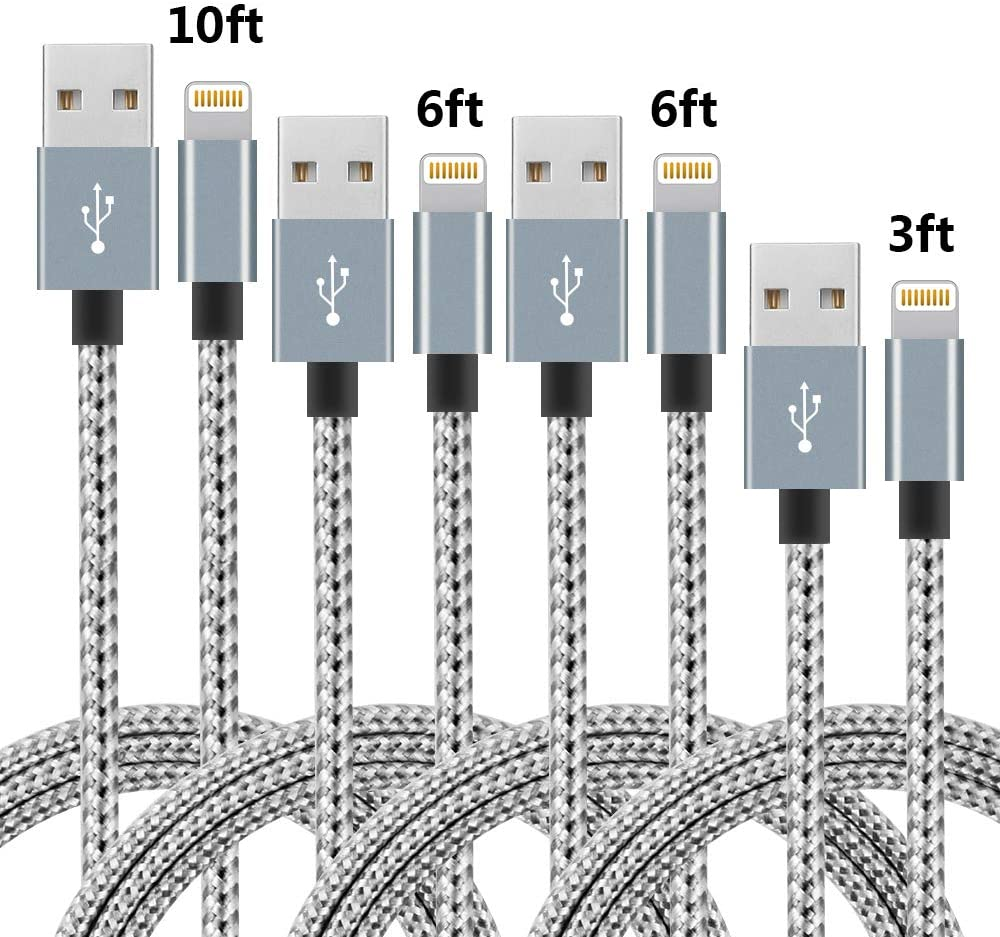 1ft 1ft 3ft 3ft Dark Gray Apple MFi Certified XnewCable 4Pack Lightning Cable iPhone Charger Nylon Braided Long Fast USB Cord Compatible for iPhone 11Pro MAX Xs XR X 8 7 6S 6 Plus SE 5S 5C