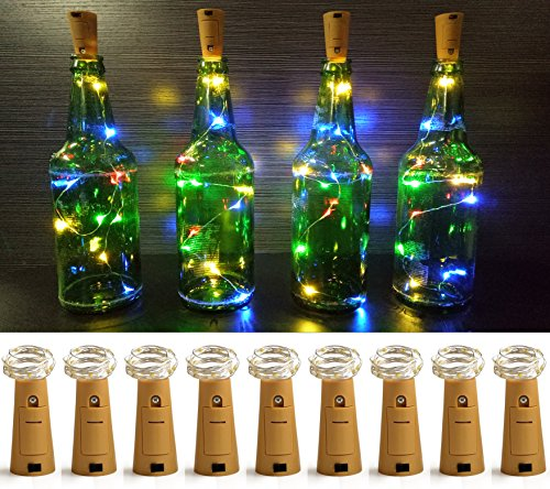 LXS Pack of 9 Cork Shape Wine Bottle Lights, Silver Wire 46cm(18in) Battery Operated Starry Rope Fairy Lights For Bottle DIY, Christmas Halloween Wedding Party Indoor Outdoor Decoration(Multi Color) (Wine Bottle Decoration Ideas)