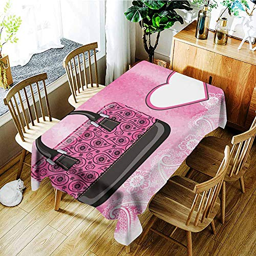 AGONIU Spill-Proof Table Cover,Handbag with Paisley Pattern Watercolor Pink Splash,High-end Durable Creative Home,W60X90L