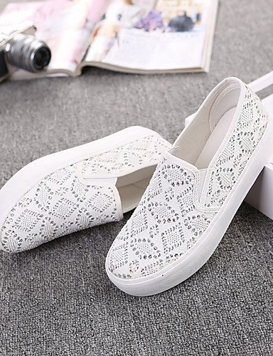 White Tela Zapatos Eu36 Eu39 us8 Negro Plano White Punta us6 Casual Comfort Redonda Tacón Blanco Mocasines Sin Zq Cn39 Uk6 De Uk4 Cordones Cn36 Exterior Mujer Gyht TSHw5q6