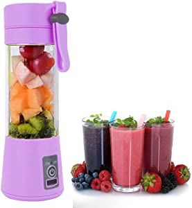 Mini Blender Portable Smoothie Maker Blender Mobile Blender with USB Rechargeable Travel Juicer Sport BPA Free 380ml Six Blades in 3D (Color : Purple)