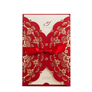50X Elegant Red Laser Cut Wedding Invitations Cards With Lace Flower Ribbon Hollow Pattern Cardstock For