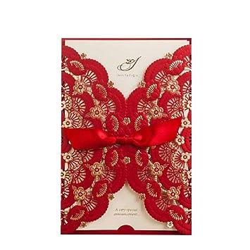 amazon com wishmade 50x elegant red laser cut wedding invitations