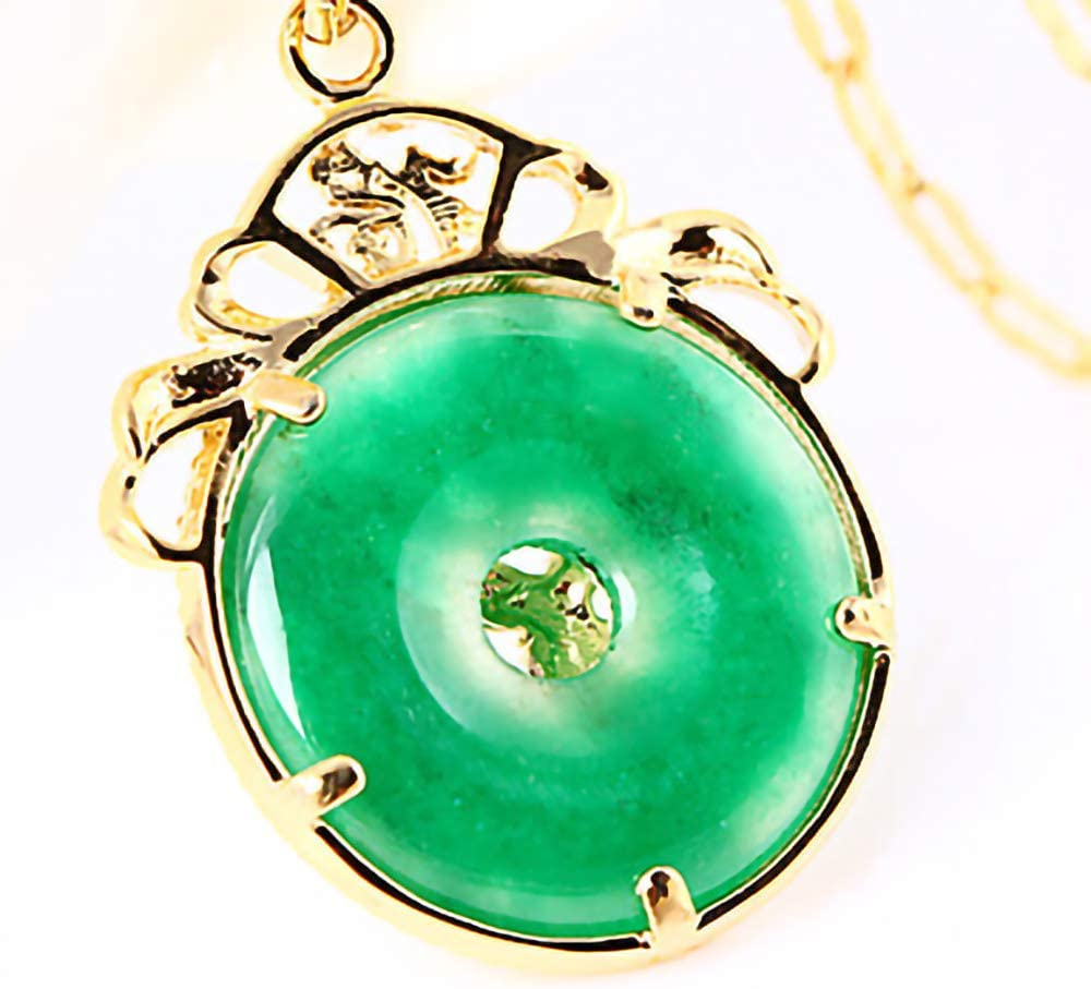 HKJCC Vintage Emerald Gold-plated Pendant Necklace Gold-plated Dragon Pendant Gold Necklace JewelryChristmas gift party special occasion birthday party evening gift