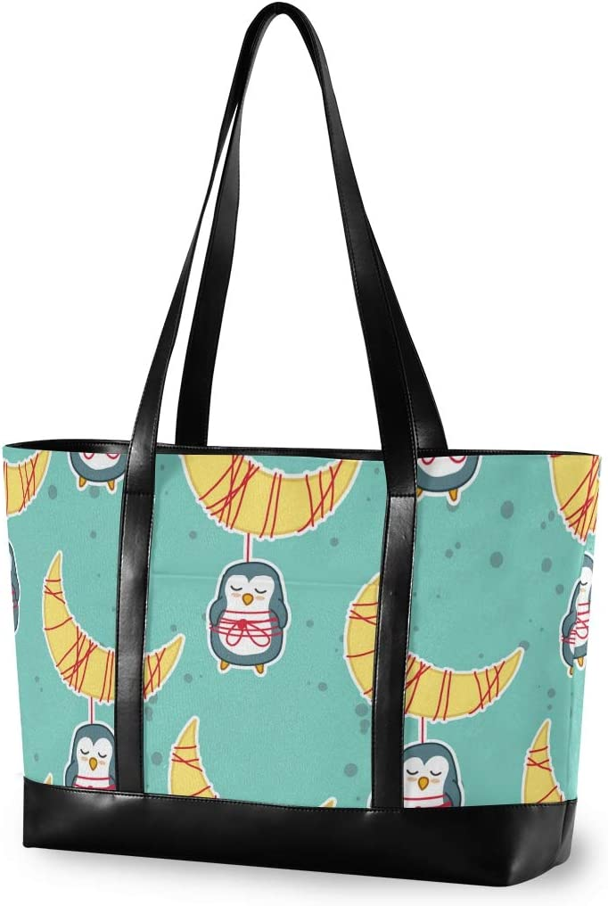 Penguins Moon Laptop Bag for Women 15.6 Inch Canvas Large Laptop Tote Bag Work School Business Computer Bag for Laptop