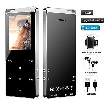 Hieha - Reproductor de MP3 portátil Bluetooth 4.2 con función de ...